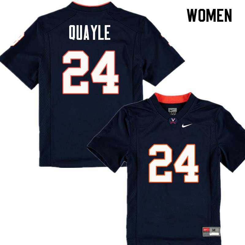 Women #24 Frank Quayle Virginia Cavaliers College Football Jerseys Sale-Navy